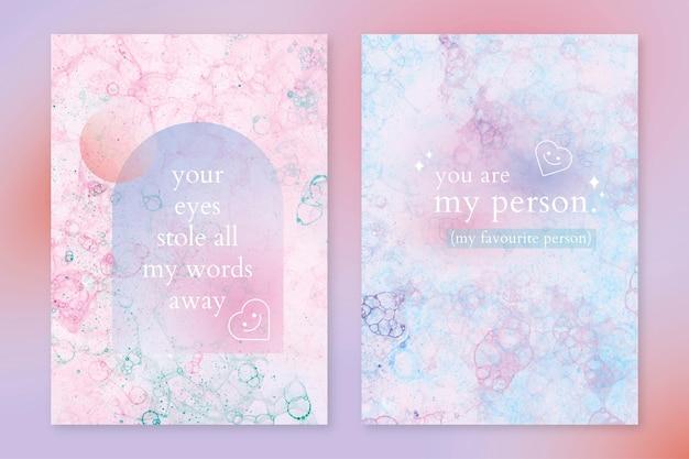 Modelo de arte de bolha estética psd com poster de citações de amor conjunto duplo