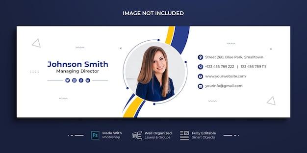 Modelo de assinatura de e-mail corporativo ou rodapé de e-mail e design de capa de mídia social pessoal