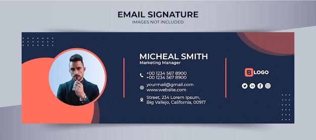 Modelo de assinatura de email, design empresarial e corporativo