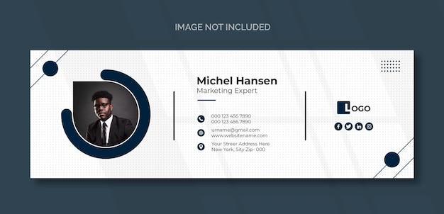 Modelo de assinatura de email ou rodapé de email e design de capa de mídia social pessoal