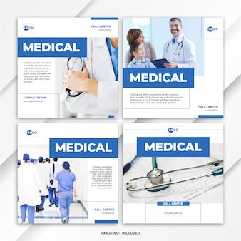 Modelo de assistência médica ao pacote de postagem de feed do instagram