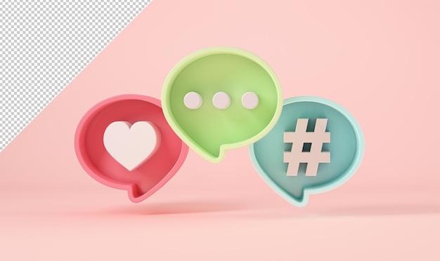 Modelo de balão de bate-papo ou comentário, curtir e hashtag