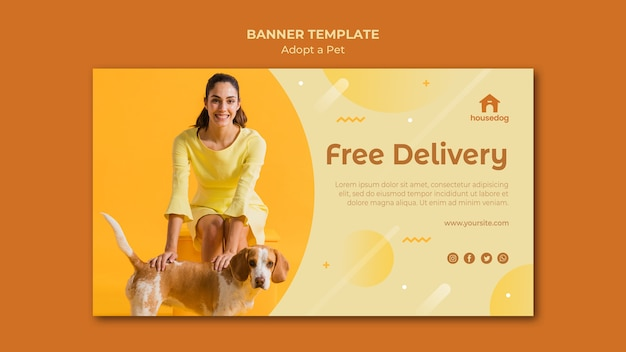Modelo de banner adotar um cachorro
