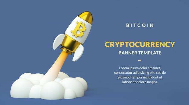 Modelo de banner bitcoin btc com espaço de cópia, criptomoeda de alta em um foguete em renderização 3d
