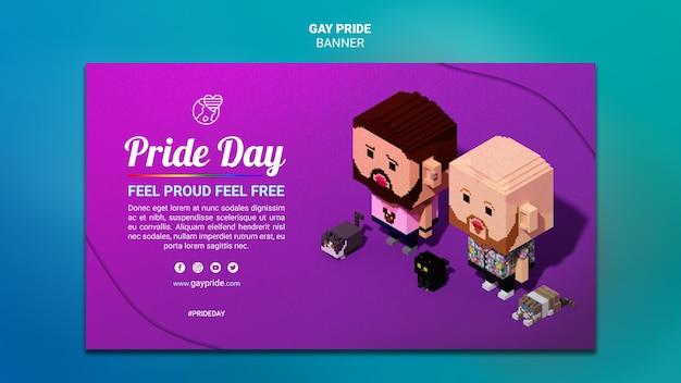 Modelo de banner colorido orgulho gay