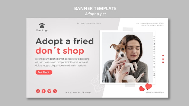 Modelo de banner com adotar animal de estimação