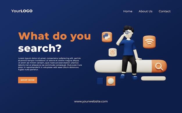 Modelo de banner com barra de pesquisa de caracteres 3d psd premium