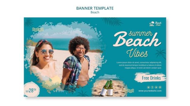 Modelo de banner com clima de praia tropical Psd grátis