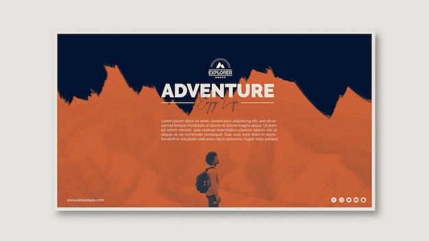 Modelo de banner com conceito de aventura