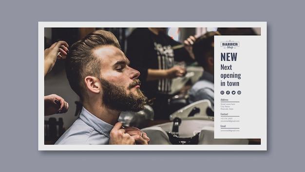 Modelo de banner com conceito de barbeiro