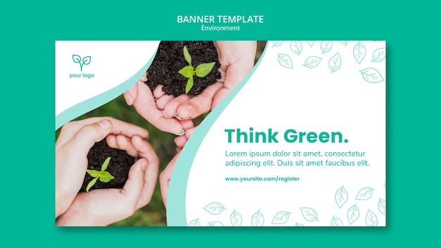 Modelo de banner com design de ambiente