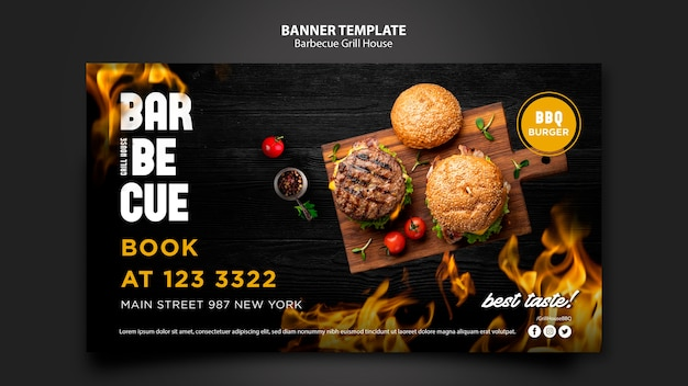 Modelo de banner com design de churrasco