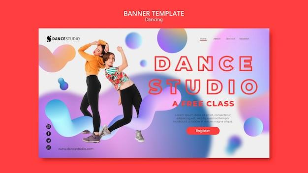 Modelo de banner com design de dança