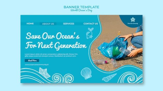 Modelo de banner com design de dia mundial do oceano