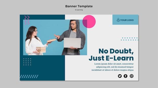 Modelo de banner com design de e-learning