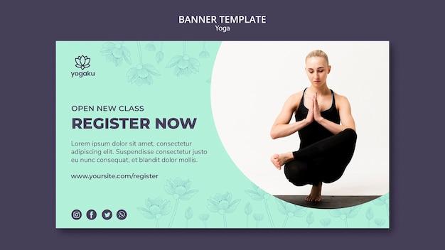 Modelo de banner com design de ioga