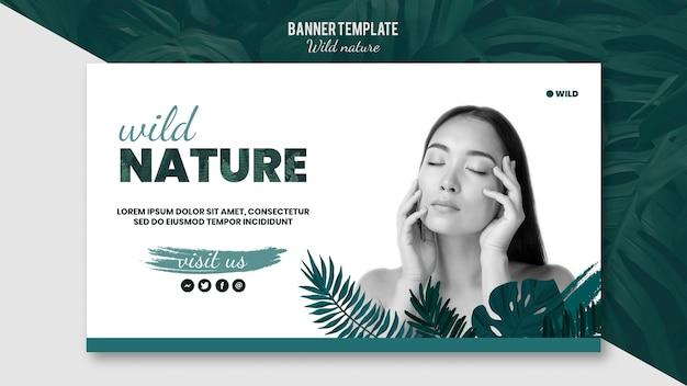 Modelo de banner com design de natureza selvagem