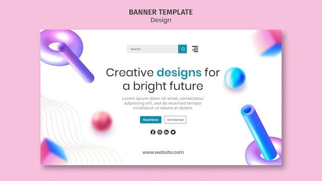 Modelo de banner com designs criativos em 3d