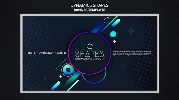 Modelo de banner com formas geométricas de néon dinâmicas
