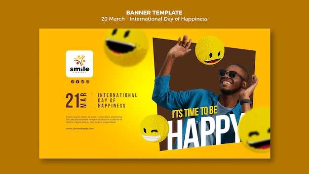 Modelo de banner com foto do dia internacional da felicidade