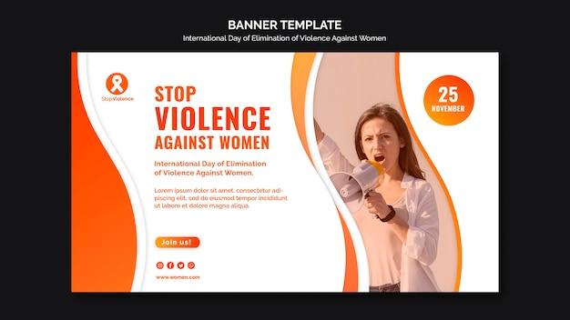 Modelo de banner com foto para conscientização sobre violência contra mulheres