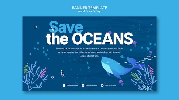 Modelo de banner com o conceito de dia mundial do oceano