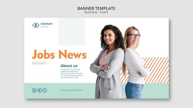 Modelo de banner com o conceito de mulher de negócios