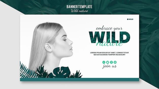 Modelo de banner com o conceito de natureza selvagem