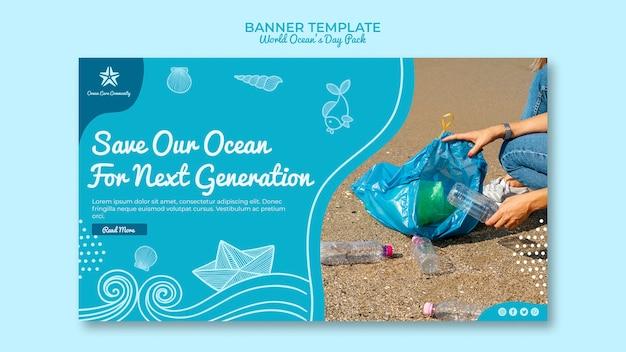 Modelo de banner com o dia mundial do oceano