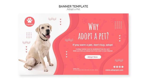 Modelo de banner com tema de animal de estimação adotado