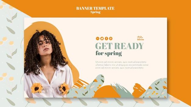 Modelo de banner com tema de primavera