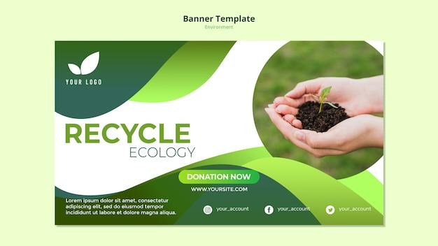 Modelo de banner com tema de reciclagem