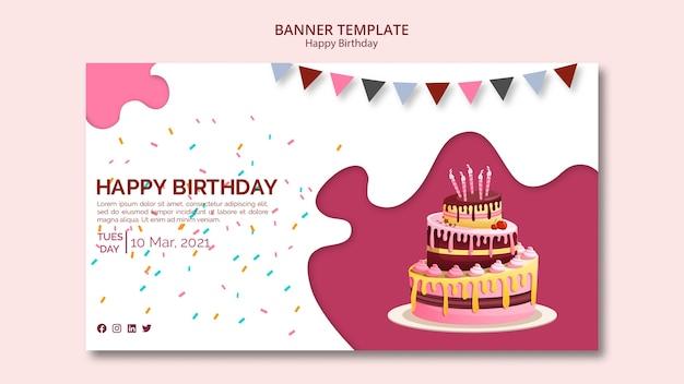 Modelo de banner com tema feliz aniversário