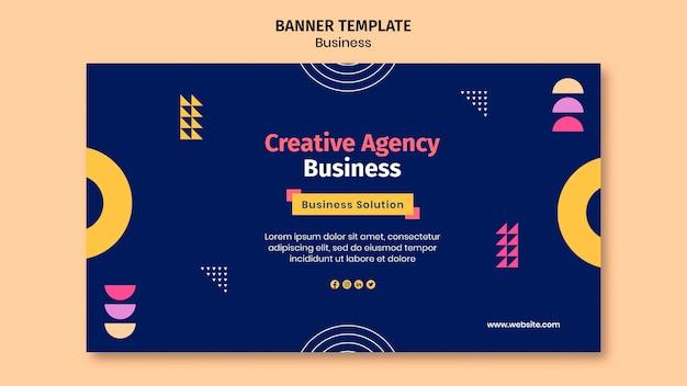 Modelo de banner comercial com formas coloridas