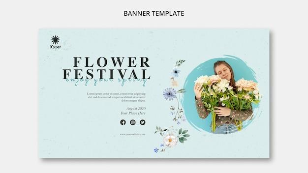 Modelo de banner conceito festival de flores