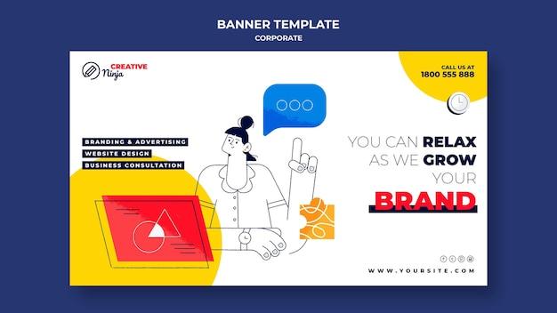 Modelo de banner corporativo com ilustrações