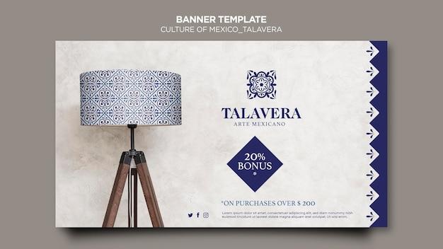 Modelo de banner da cultura mexico talavera