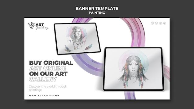 Modelo de banner da galeria de pinturas