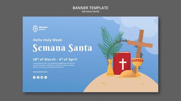 Modelo de banner da semana santa ilustrado