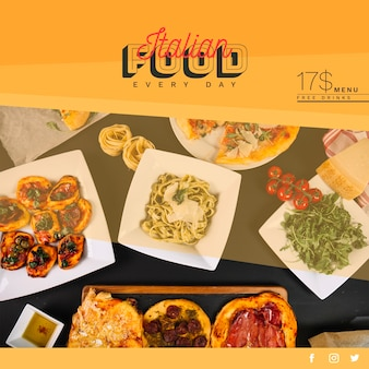 Modelo de banner da web com conceito de comida italiana