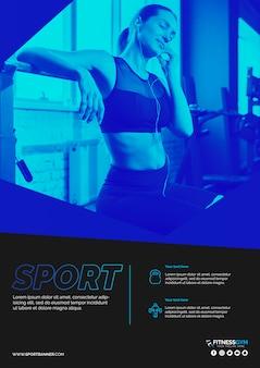 Modelo de banner da web com o conceito de esportes