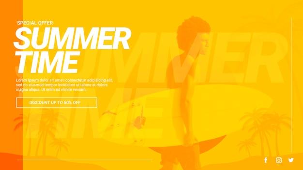 Modelo de banner da web com o conceito de verão