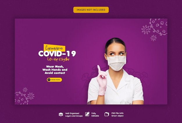 Modelo de banner da web coronavirus ou convid-19