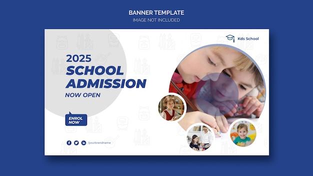 Modelo de banner da web de admissão escolar