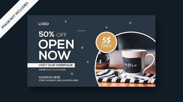 Modelo de banner da web de café