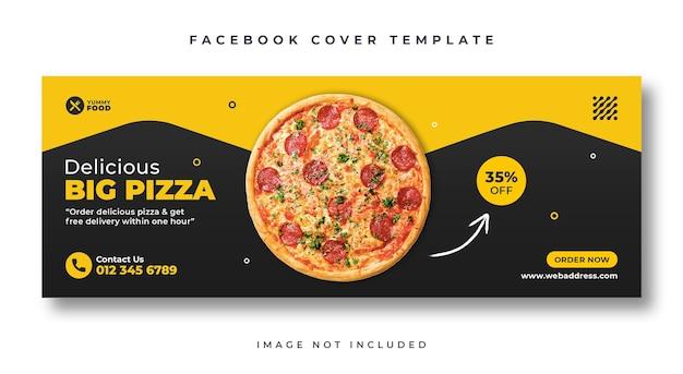 Modelo de banner da web de capa do facebook para comida de restaurante