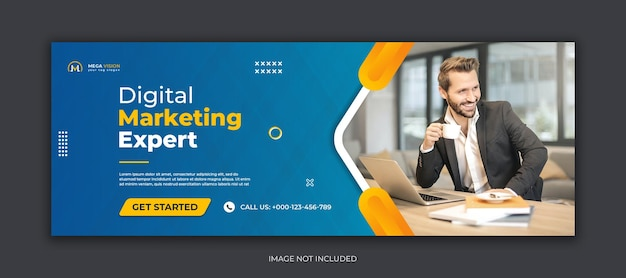 Modelo de banner da web de capa do facebook para mídia social corporativa de marketing digital