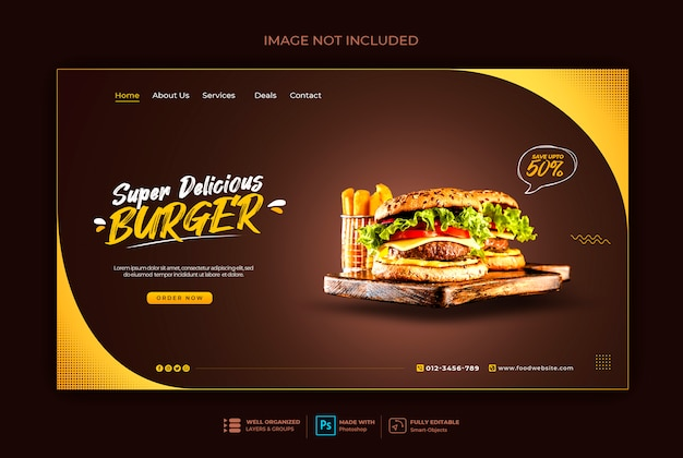 Modelo de banner da web de fast-food ou hambúrguer