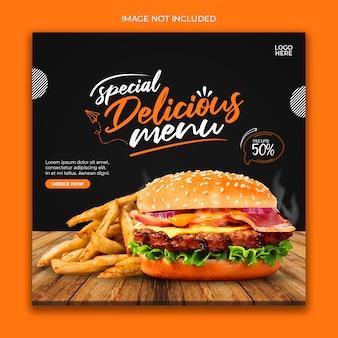 Modelo de banner da web de fast food para mídia social