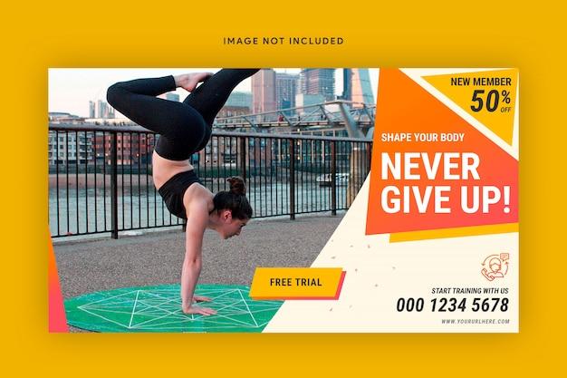 Modelo de banner da web de ginásio fitness